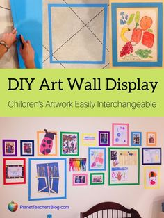 Creative way to display kids artwork. DIY interchangeable art wall for playroom. Easy way to display childrens artwork and exchange their drawings any time. Displaying Childrens Artwork, Childrens Art Display, Childrens Wall Art, Drawing For Kids, Art For Kids, Children Drawing, Drawing Ideas, Preschool Art Display, Artwork Display