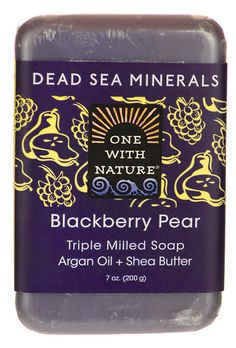 Dead Sea Minerals Triple Milled Bar Soap - Blackberry Pear | Argan oil and shea butter moisturize your skin, while Dead Sea salt and 21 minerals clean your skin. This triple milled soap from One With Nature has a blackberry pear scent which will leave you feeling sweetly clean.