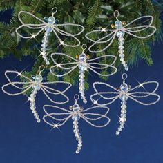Make six light and airy dragonfly ornaments sparkling with real crystal beads, silver-core seed beads, and quality wire with this DIY kit from Solid Oak. Great instructions make it easy! Beaded Christmas Ornaments, Christmas Crafts, Christmas Decorations, Diy Ornaments, Felt Christmas, Homemade Christmas, Glass Ornaments, Christmas Countdown, Xmas