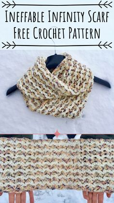 Crochet Scarfs This free infinity scarf pattern is super quick and easy, perfect for beginners, it only takes about 2 evenings to make a mm crochet hook, and some worsted weight yarn Crochet Baby Shawl, Crochet Gloves, Crochet Scarves, Easy Crochet, Crochet Stitches, Free Crochet, Irish Crochet, Crochet Ideas, Crochet Projects