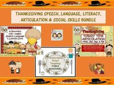 We have put together three of our Thanksgiving documents for you to use and to enjoy this November with a large variety of your students working on speech, language, literacy, articulation and social skills.The folder has been compressed into 1 zip file to save memory space on your computer and to be ready for your download when you need them!