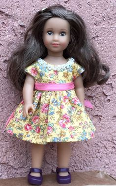 Six inch mini doll clothes: yellow floral by GumbieCatDollClothes