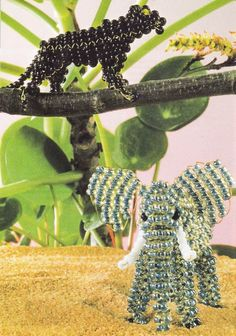 Beaded 3D Elephant and Black Panther PATTERN