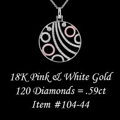 Pink and white gold free-form design diamond pendant.