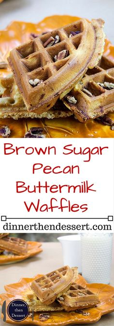 Brown Sugar Pecan Buttermilk Waffles are sweet from the brown sugar, tangy from the buttermilk, crunch from the minced pecans in the waffle and fluffy all at the same time. It also doesn't hurt that you can start the batter and be eating in less than 20 m Breakfast Waffles, What's For Breakfast, Pancakes And Waffles, Breakfast Dishes, Breakfast Recipes, Mexican Breakfast, Pancake Recipes, Breakfast Sandwiches, Waffle Maker Recipes
