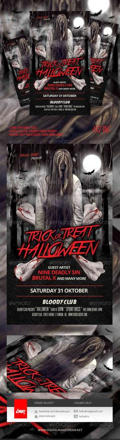 45 best Halloween Flyers  Posters images on Pinterest Print - blank halloween flyer templates