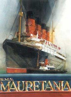 Wonderful poster of a legendary liner. Tourism Poster, Poster Ads, Vintage Travel Posters, Vintage Postcards, Bateau Yacht, Cunard Ships, Rms Mauretania, Boat Art, Old Advertisements