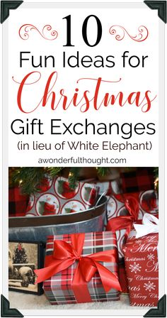 10 Fun Christmas Gift Exchange Ideas in lieu of White Elephant -- Try these at the office or with friends over the holidays! 10 Fun Christmas Gift Exchange Ideas in lieu of White Elephant -- Try these at the office or with friends over the holidays! Christmas Gift Exchange Themes, Office Christmas Gifts, Gift Exchange Games, Diy Christmas Gifts For Family, Christmas Ideas, Office Gift Exchange Ideas, Christmas Games, Xmas Games, Holiday Ideas