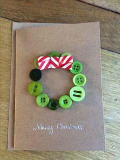 Christmas button wreath card