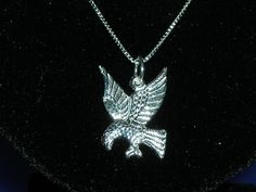 STERLING SILVER FREEDOM EAGLE BIRD PENDANT NECKLACE