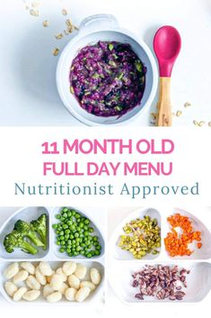 Nutritionist created meal plan for 11 month old baby - homemade healthy easy recipes for baby breakfast, baby lunch and baby dinner. 11 Month Old Food, 11 Month Old Baby, 11 Month Old Schedule, Healthy Baby Food, Healthy Recipes, Healthy Menu, Eating Healthy, Salad Recipes, Diet Recipes