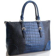 4you2wear Modieuze blauwe leren tas