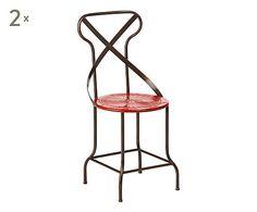 2 Chaises métal, rouge - L42