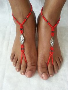 The red is cute too : Barefoot Sandals Anklet Foot Jewelry