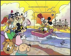 Mickey Mouse as Christopher Columbus. On August 3, 1492, Columbus left Palos, Spain with three ships: Nina, Pinta & Santa Maria. The Souvenir sheet of Gambia Scott #1231 (08 Apr 1992) records the scene in living color. His friends are present to wish him a safe and successful voyage. As you can see, stamp collecting is a fun hobby.