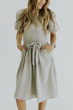 Neutral colored textured midi dress with tie | ROOLEE