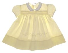 Heirloom 1950s Pale Yellow Smocked Baby Dress with Embroidered Flowers $55.00