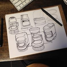 Daily warm ups #ellipses #coffee #sketchaday #designsketching #idsketching #sketch #pen #papermate
