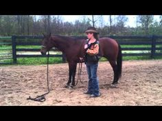 This video shows how to use the rope while training a horse to bow if you do not have a saddle on.