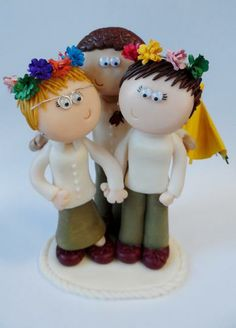 Custom Gay Wedding/Civil partnership personalized cake topper figurine by Googly Gifts wedding cake toppers | Hatch.co