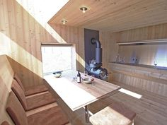 Small dining area inside the cabin