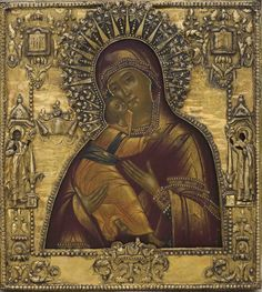 Vladimir Icon of the Mother of God. 1802-1803; Moscow; (oklad - workshop Sazikov) tempera on wood, silver. 33,8x30,5 cm.