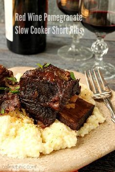 Red Wine Pomegranate Slow Cooker Short Ribs are tender and succulent. This is…