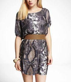 Grey Phython Elastic Waist Dress. Cotton