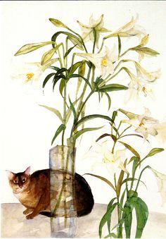 Dame Elizabeth Blackadder (British, b. - Abyssinian Cat and Lilies, 1981 - Offset lithograph printed in colours Women Artist, Blackadder, Cat Drawing, Dog Art, Pet Portraits, Pet Birds, Watercolor Art, Illustration Art, Cat Illustrations