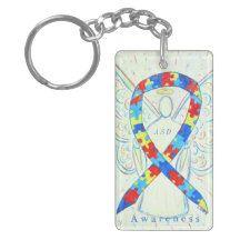 Autism Spectrum Disorder Awareness Ribbon Guardian Angel Keychain