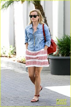 Reese Witherspoon is summer chic while leaving her office building on Tuesday afternoon