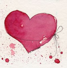 , 10 Videos About Valentines Day Drawings that Will Make You Laugh Whether you forgot to organ, Watercolor Heart, Wreath Watercolor, Watercolor And Ink, Watercolor Paintings, Watercolors, Valentines Watercolor, Valentines Day Drawing, Happy Paintings, Heart Art