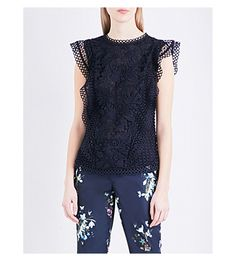 TED BAKER Ruffled lace top