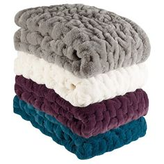 Ruched Faux Fur Throw : Target