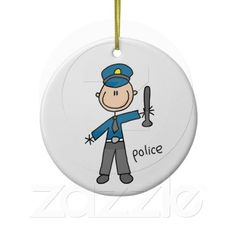Police Officer Stick Figure Christmas Tree Ornaments