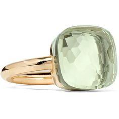 Pomellato Nudo Maxi 18-karat rose gold prasiolite ring (€2.870) ❤ liked on Polyvore featuring jewelry, rings, rose gold, handcrafted jewelry, green quartz ring, red gold ring, red ring and prasiolite ring