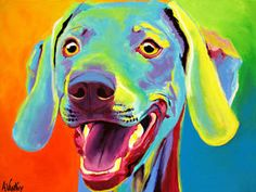 Colorful Pet Portrait Weimaraner Dog Art Print by Alicia VanNoy Call Painting Frames, Painting Prints, Wall Art Prints, Poster Prints, Framed Prints, Canvas Prints, Weimaraner, Dog Leash Holder, Colorful Paintings