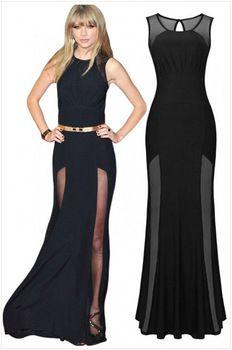 2015 Black Long Sleeveless Double Split Neck Hollow Out Maxi Sexy Elegant Prom Evening Celebrity Party Dress Vestidos De Festa