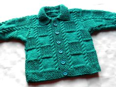 Baby boy sweater in teal hand knit by BabycraftCindy on Etsy, $24.00