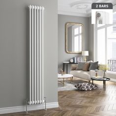 Roma Vertical Double Column Traditional Gas Radiator in White 1800mm x 290mm - soak.com
