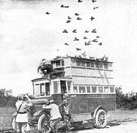 In the First World War mobile pigeon lofts were set up behind the trenches from which pigeons often had to fly through enemy fire and poison gas to get their messages home.