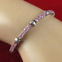 Vintage 5CT Pink Ice .925 Sterling Silver Heart Charm Bracelet DBB021 | We combine shipping | No Question Refunds | Bid $60 for free shipping. Starting at $1