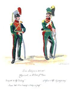 Austria; 4th Uhlans Coburg , Trumpeter, Grande Tenue & 2nd Uhlans Schwarzenbourg, Sous-Officer, Grande Tenue. 1812-15