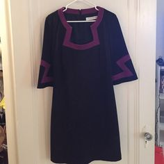 Trina Turk black dress. Great black Trina Turk dress with purple design. Only worn a few times, looks brand new. Trina Turk Dresses