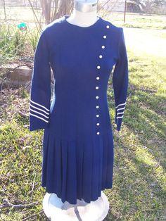 vintage 60s mod nautical dress drop waist pleated 70s navy blue white striped sears vtg m L. $38.99, via Etsy.