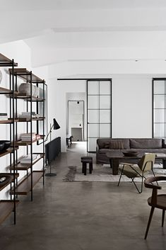 Bohemian luxury apartment in Vienna, contemporary rustic industrial interior design, loft design. Interior Concept, Design and Curation by Annabell Kutucu. Photography by Claus Brechenmacher Loft Design, Küchen Design, Modern House Design, Nordic Design, Design Styles, Design Ideas, Bachelor Apartment Decor, Apartment Interior, Bachelor Decor