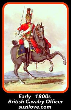 1800s  British Cavalry Officer On Horse Charging.