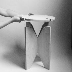 Icone stool by Ashkan Heydari Cute Furniture, Folding Furniture, Modular Furniture, Diy Furniture Projects, Small Furniture, Plywood Furniture, Furniture Plans, Wood Projects, Furniture Design