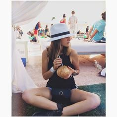 The Lacoste party is always great. Sitting Cross Legged, Coachella 2014, Festival Fashion, Festival Style, Street Snap, Bum Bag, Yoga Fashion, Black Flats, Ethical Fashion