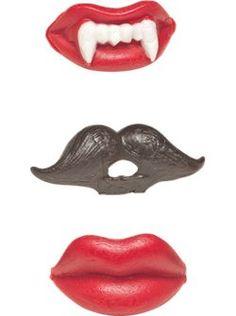Wax lips and fangs, wax mustache.